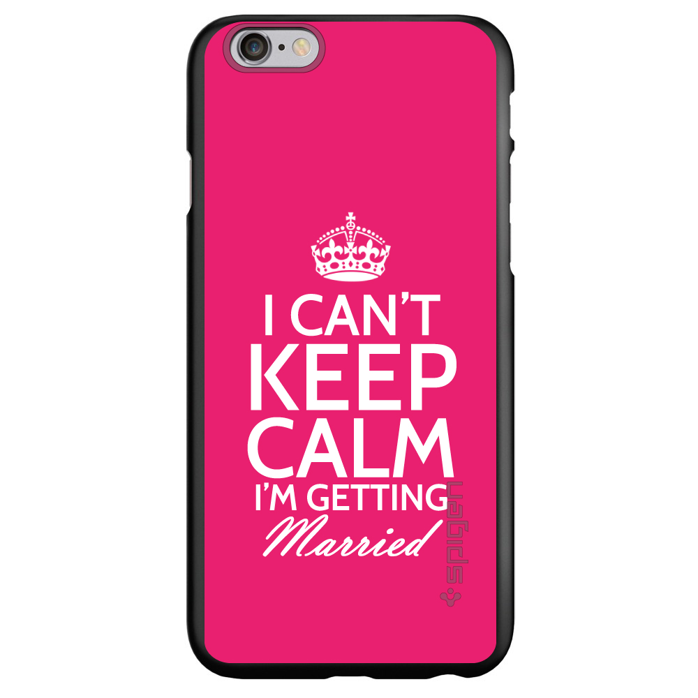 """CUSTOM Black Spigen Thin Fit Case for Apple iPhone 6 PLUS / 6S PLUS (5.5"""" Screen) - Can't Keep Calm I'm Getting Married"""
