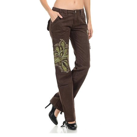 Womens Hipster Cargo Multi Pocket Combat Trousers Leisure Army Casual Pants with Designs - Hipster Skirted Pant