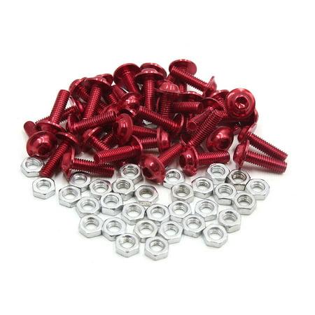 35pcs M6 Red Aluminum Alloy Hex Socket Head Motorcycle Fairing Bolts Screws Nuts