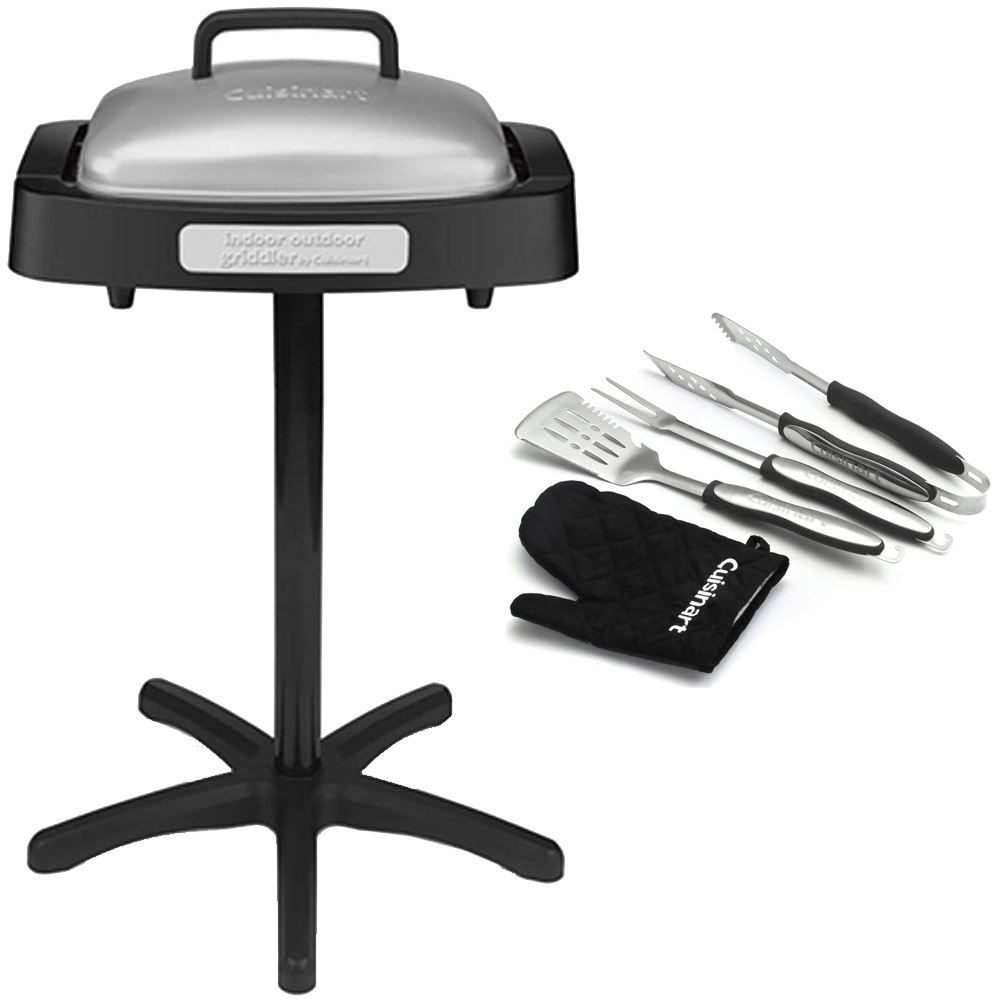 Cuisinart (GRID180SA1) Indoor/Outdoor Grill with Reversible Nonstick Grill & Griddle Cooking Plate + 3-Piece Grilling Tool Set with Grill Glove (Black)