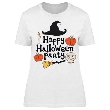 Halloween Icon Text (Happy Halloween Party Icons Tee Women's -Image by)
