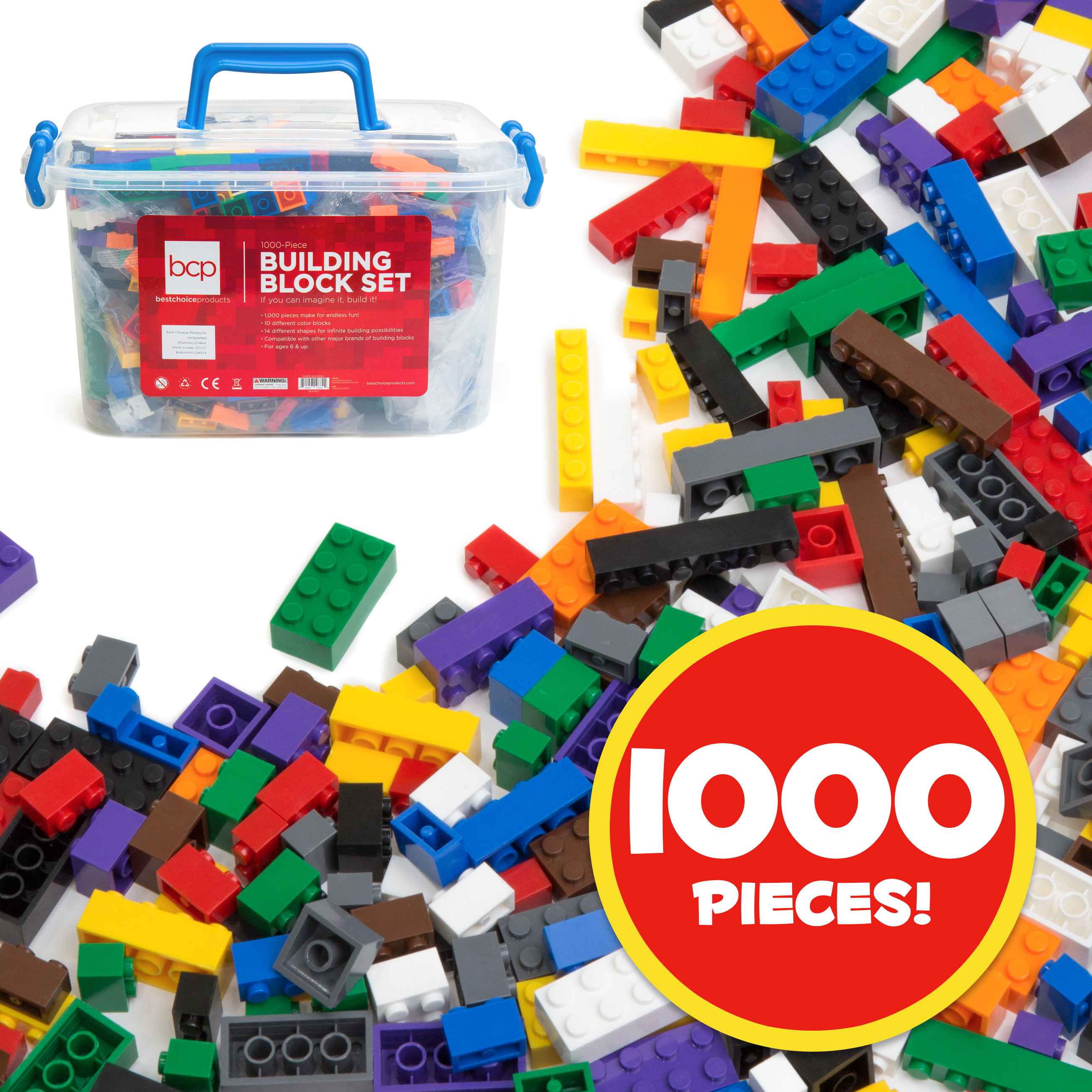Best Choice Products Deluxe 1000-Piece Building Brick Blocks Set w/ Carrying Case, 14 Shapes, 10 Colors - Multicolor