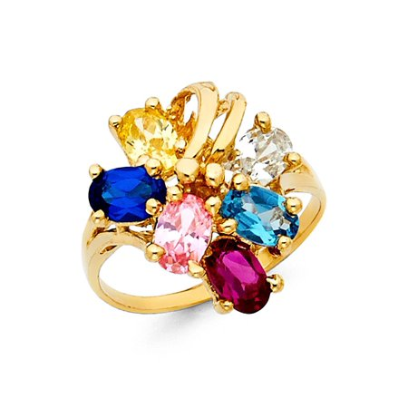 Solid 14k Yellow Gold Cocktail Ring Multi Color CZ Fashion Band Gemstone Look Polished Fancy