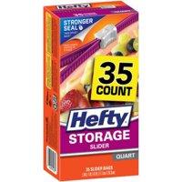 (3 Pack) Hefty Slider Storage Bags, Quart, 35 Ct