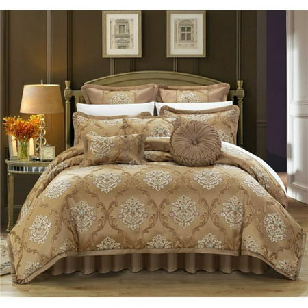 Chic Home CS4611-US Angelo Decorator Upholstery Quality Jacquard Scroll  Fabric Complete Master Bedroom Comforter Set & Pillows Ensemble - Gold -  King ...