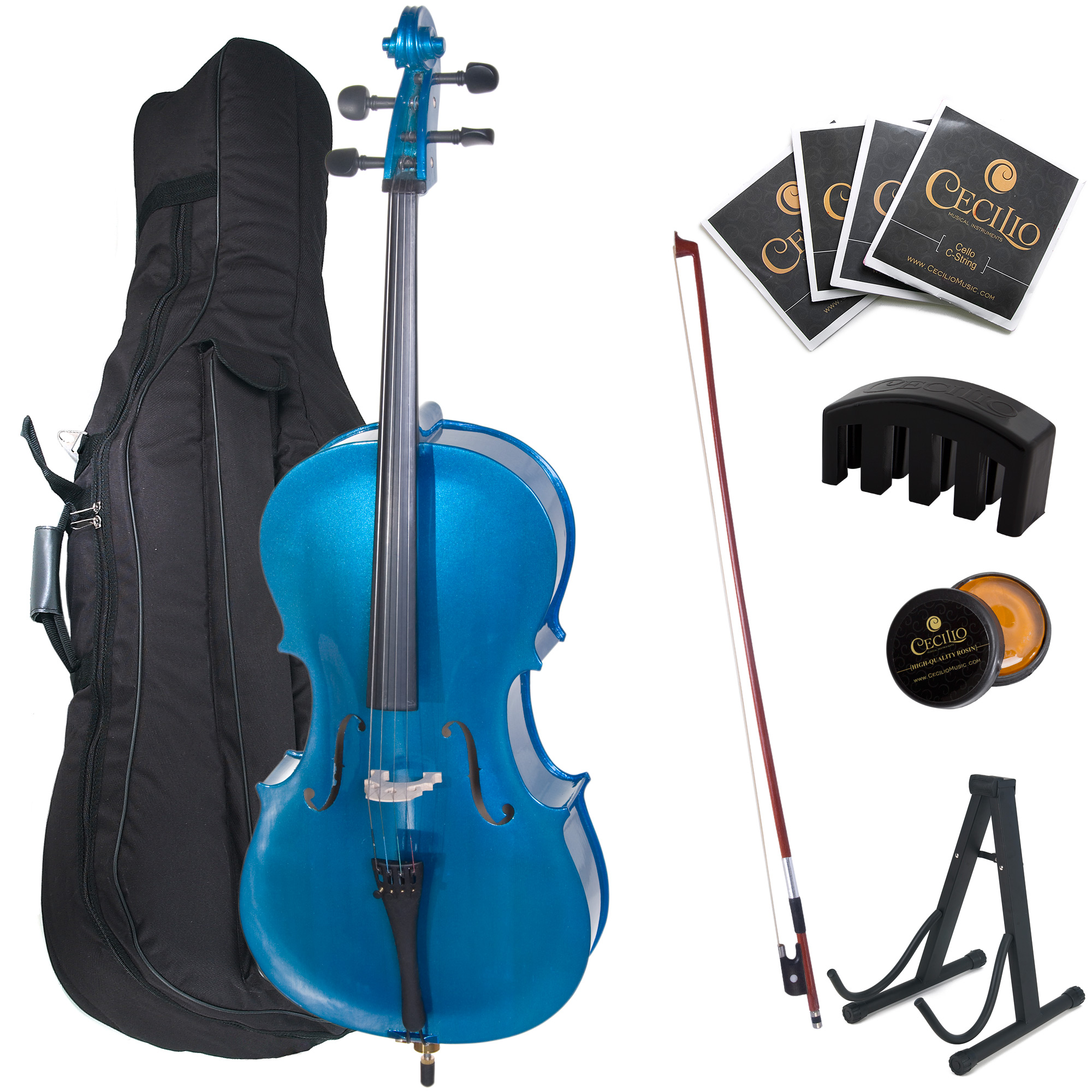 Cecilio Full Size 4/4 CCO-Blue Student Cello w/ Cello Stand, Extra Set Strings, Bow, Rosin, Bridge, Cello Mute & Soft Case