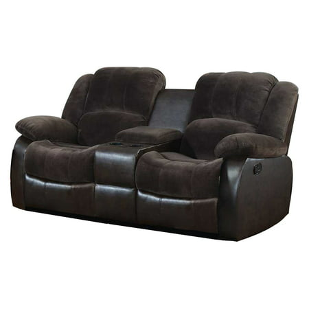 NH Designs Champion and Faux Leather Motion Loveseat and Console (2 Piece Leather Loveseat)