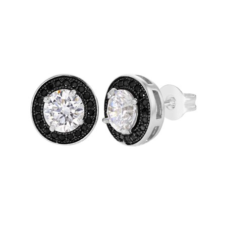 Plated Pave Crystal (Rhodium Plated Round Black Clear Crystal Prong Set Pave Stud Women)