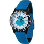 Cookie Monster Boys' Black Plastic Time Teacher Watch, Reversible Blue and Black Elastic Nylon Strap