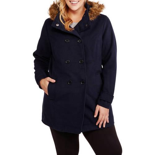 Maxwell Studio Women's Plus-Size Faux Wool Peacoat With Fur-Trimmed Hood