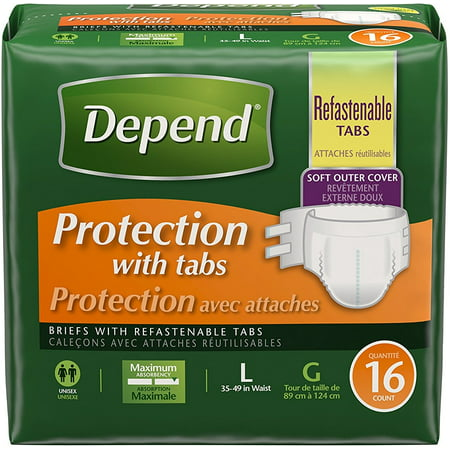 Depend Briefs, Protection with Tabs, Maximum Absorbency, Unisex, Large 16 ea ()