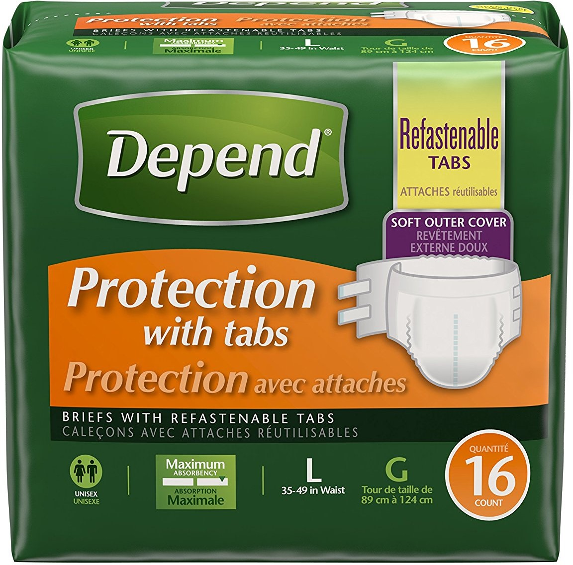 6 Pack - Depend Briefs, Protection with Tabs, Maximum Absorbency, Unisex, Large 16 ea