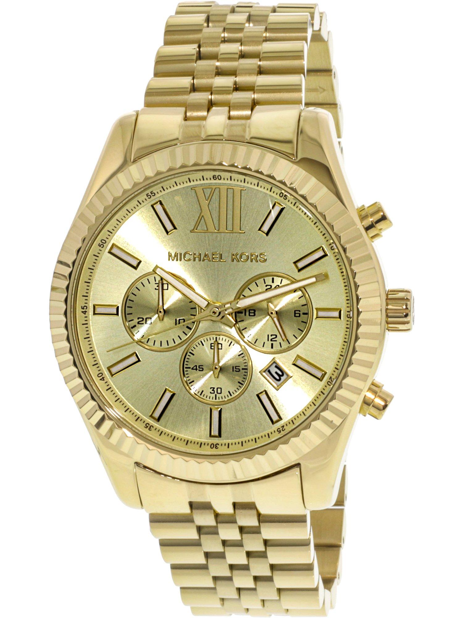 Michael Kors Men's Lexington Gold-Tone Chronograph Watch, MK8281