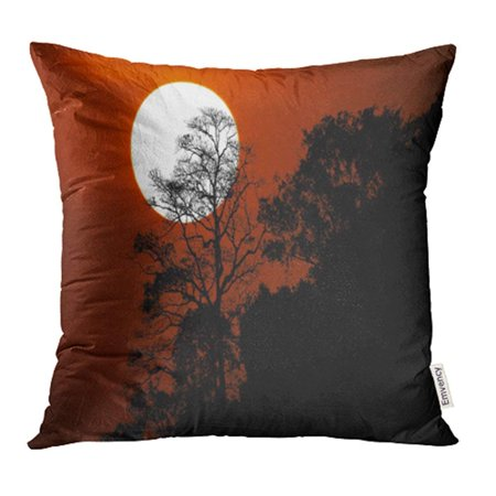 ARHOME Abstract Halloween with Silhouette Trees on Mountain in Spooky Sunset Sky Atmosphere Pillowcase Cushion Cover 16x16 inch