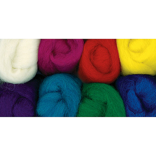"""Wistyria Editions Wool Roving 12"""" long, 2-Ounce, 8-color, Primary"""