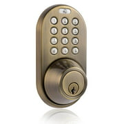 Keyless Entry Deadbolt Door Lock with Electronic Digital Keypad Antique Brass