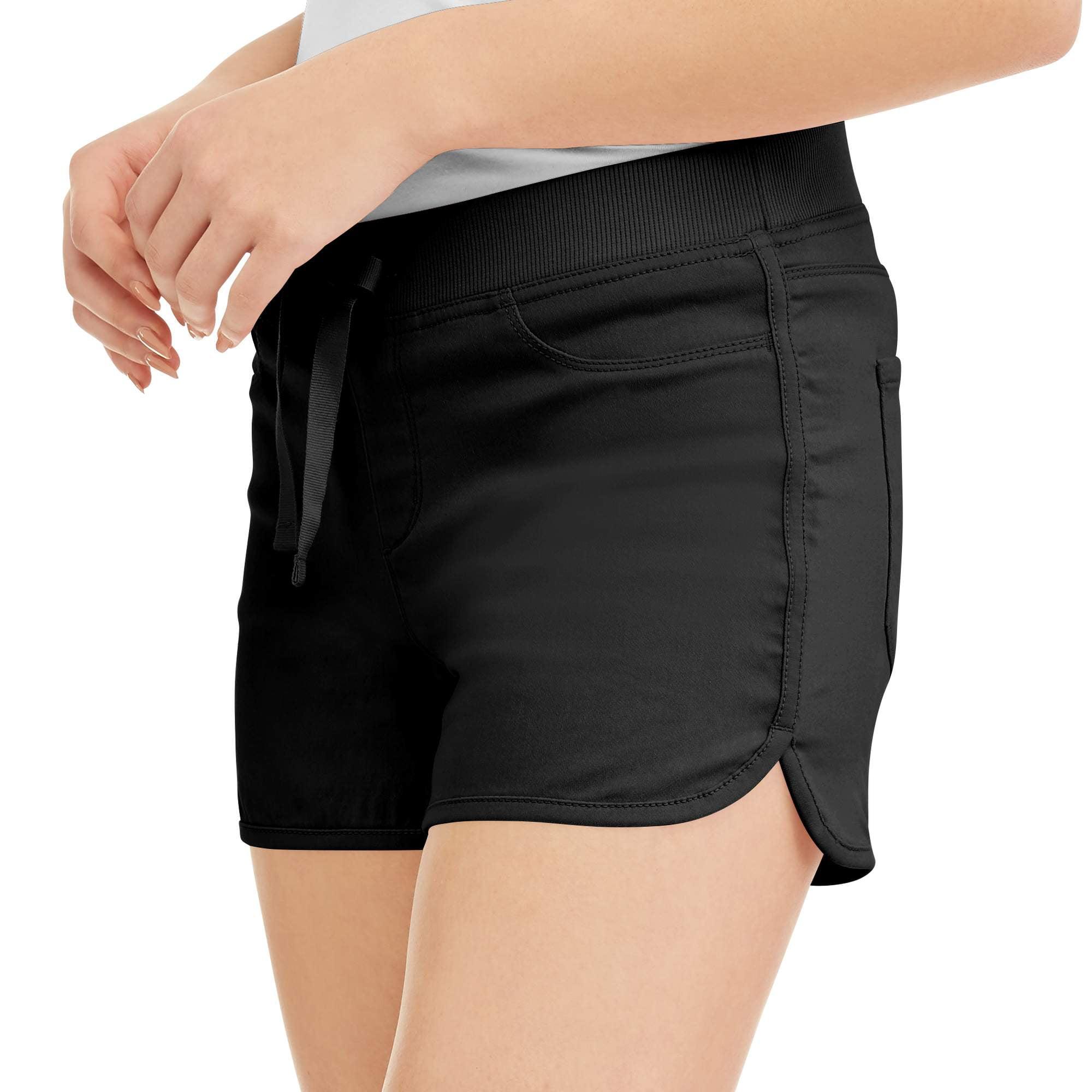No Boundaries Juniors' Ribbed Waist Dorm Shorts (Up to 2XL!)