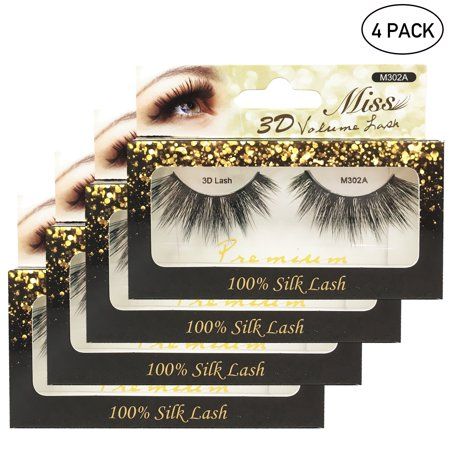 397afd12842 Miss Lashes 3D Volume Tapered Natural Silk Eyelash Extension [4-PACKS, FREE  SHIPPING] - Walmart.com