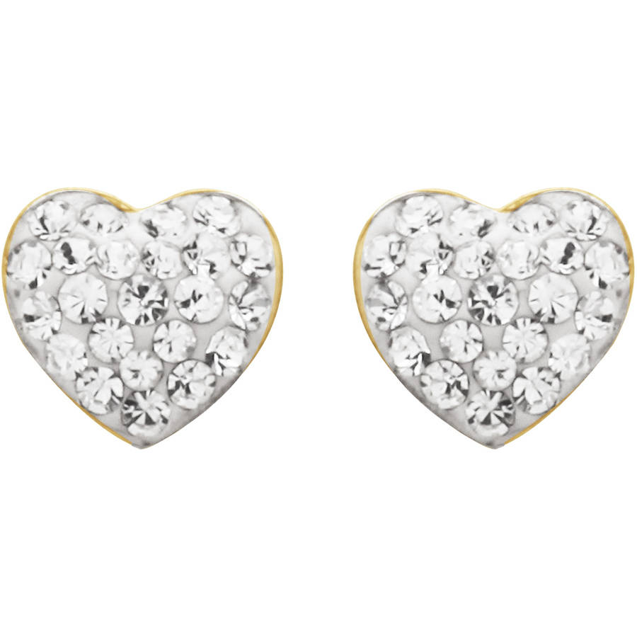 Luminesse 18K Gold over Sterling Silver White Heart Earrings with Swarovski Accents