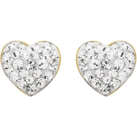 18K Gold over Sterling Silver White Heart Earrings with Swarovski Accents