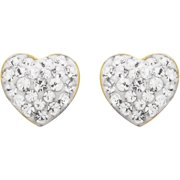 Brilliance Fine Jewelry 18K Gold over Sterling Silver White Heart Earrings with Swarovski Accents