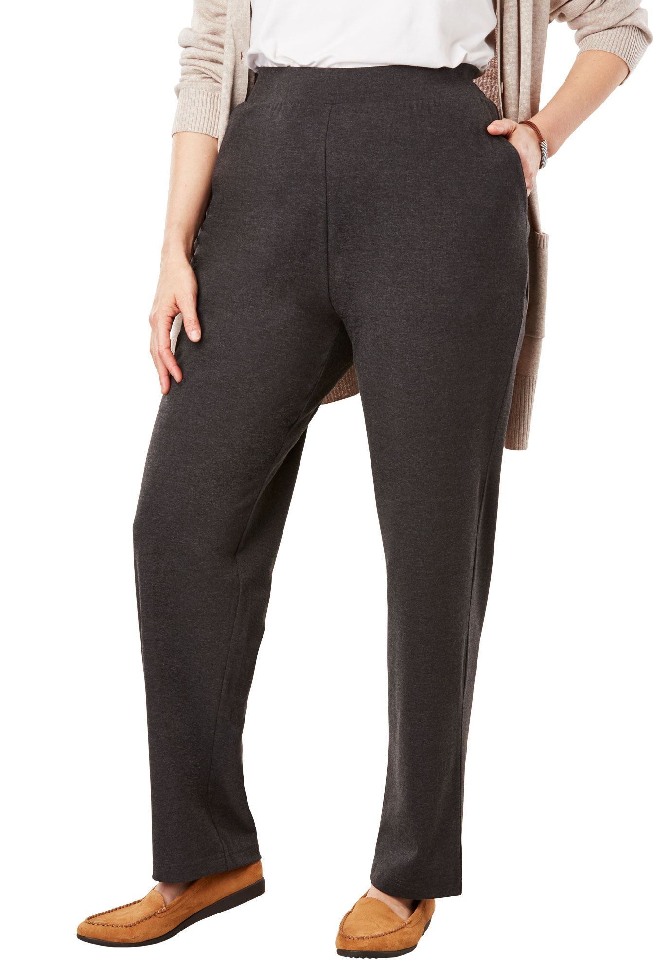 Woman Within Plus Size Straight Leg Relaxed Knit Pant