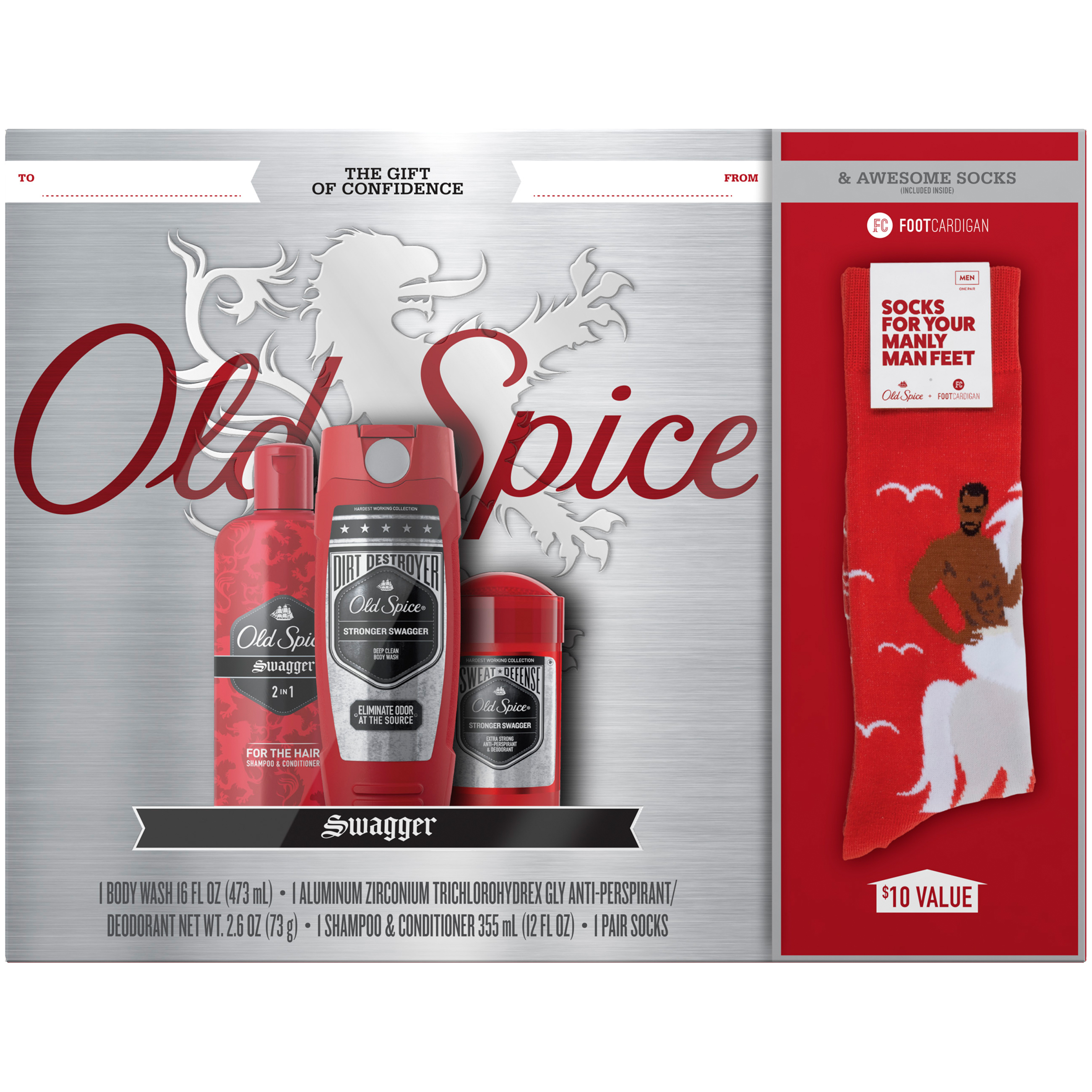 Old Spice Swagger Hardest Working Collection Body Wash, Deodorant and Shampoo & Conditioner Gift of Confidence Gift Pack (Free Socks Included)