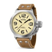 Mens XXL Stainless Steel Case Canteen Brown Leather Beige Dial Silver Watch - CS12