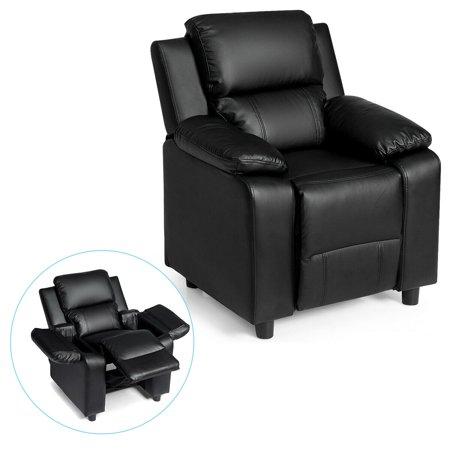 Deluxe Padded Kids Sofa Armchair Recliner Headrest Children w/ Storage Arm