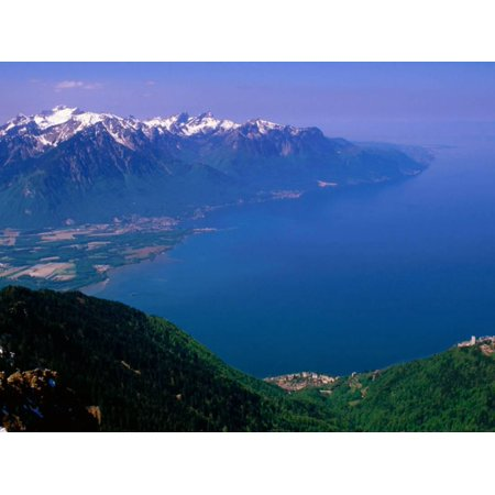 Alph Art (Montreux, Lake Geneva and French Alps from Rochers de Naye, Montreux, Vaud, Switzerland Print Wall Art By Glenn Van Der Knijff)