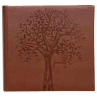 "Pinnacle Faux Leather Family Tree Embossed Photo Album, Holds 120 - 4""x6"" Photos"