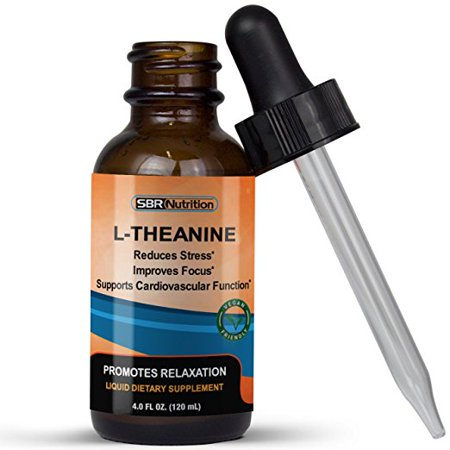Liquid L-Theanine 225mg per Serving, 4 Ounce, 60 Servings, Promotes Relaxation, SBR Nutrition (Phytoceramides Without Vitamins)
