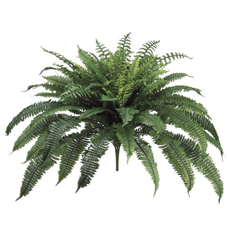 30 Inch Long Silk Artificial Boston Fern Bush 48 Inch Spread Plant 90 Branches ()
