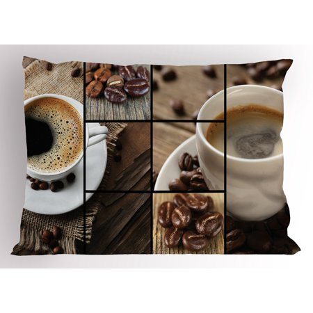 Brown Pillow Sham Coffee Themed Collage Close Up Mugs Beans on Wooden Table Aromatic Roasted Espresso Drink, Decorative Standard Size Printed Pillowcase, 26 X 20 Inches, Brown, by - Halloween Themed Espresso Drinks
