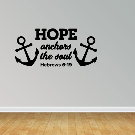 Hope Anchors Soul Vinyl Wall Decals Vinyl Decals Nautical Decal Religious Decal JP117](Anchor Wall)