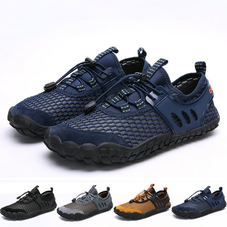 Bridawn Navy Blue Men Women Quick Dry Barefoot Hiking Water Shoes for Swim Surf Exercise Outdoor wear - Flapper Shoes For Sale