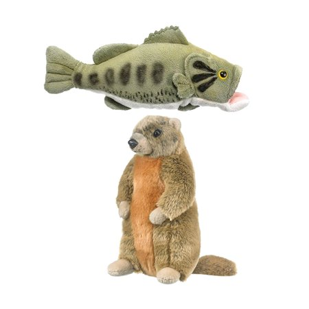 Super Soft Plush Wild Life Artist Conservation Critters Yellow Bellied Marmot Plush and Wild Life Artist Conservation Critters Aquarium Large Mouth Bass Plush