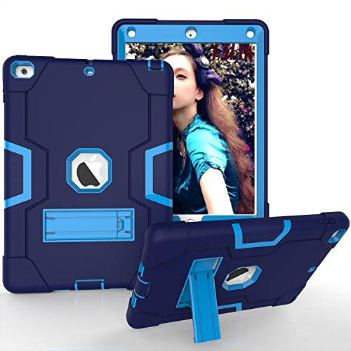 "New iPad 9.7"" 2018/2017 Case, Mignova Heavy Duty rugged Hybrid Protective Case with Build In Kickstand For Apple iPad 9.7 2018/2017 A1893 A1822 A1823(Navyblue+Blue)"