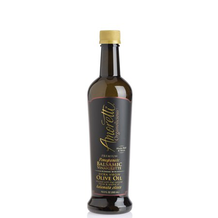 Amoretti Premium Pomegranate Balsamic Vinaigrette Blended with Extra Virgin Olive Oil Infused with the Natural Flavor & Aroma of Kalamata Olives - 500ml Bottle - Mission Extra Virgin Olives