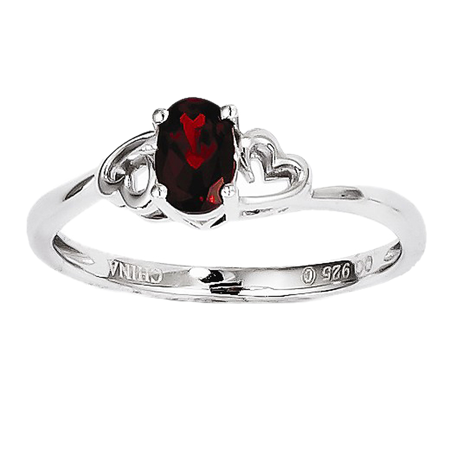 (925 Sterling Silver Oval Garnet Reverse Heart Accents Ring)