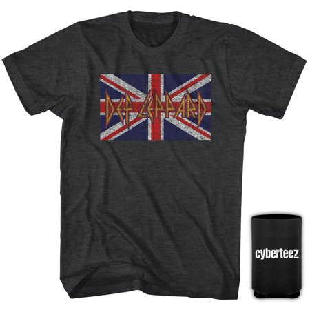 Silver Union Jack (Def Leppard Union Jack Logo UK Flag Heather Gray T-Shirt + Coolie)