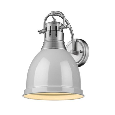 Duncan 1 Light Wall Sconce in Pewter with a Gray Shade