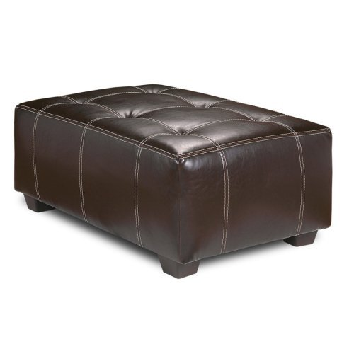 Chelsea Home Rectangular Ottoman with Contrast Stitching - Brown