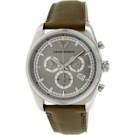 Emporio Armani Men's Sportivo AR6040 Grey Leather Quartz Fashion Watch