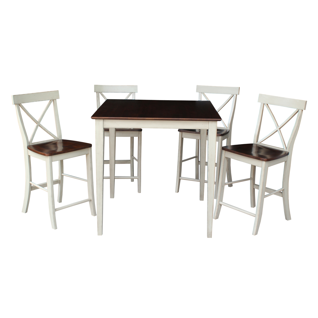 """36"""" Square Counter Height Table with 4 X-back Stools in Antiqued Almond/Espresso - 5 Piece Set"""