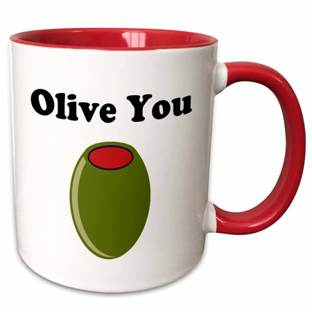 3dRose Olive you. - Two Tone Red Mug, 11-ounce