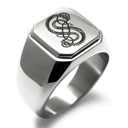 Viking Logo Ring - Stainless Steel God of Mischief Loki Viking Norse Engraved Square Flat Top Biker Style Polished Signet Ring