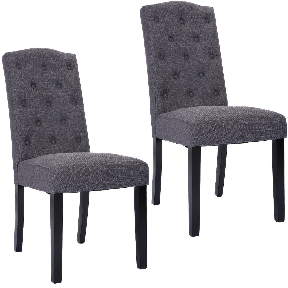 Costway Set of 2 Fabric Wood Accent Dining Chair Tufted Modern Living Room Furniture by Costway