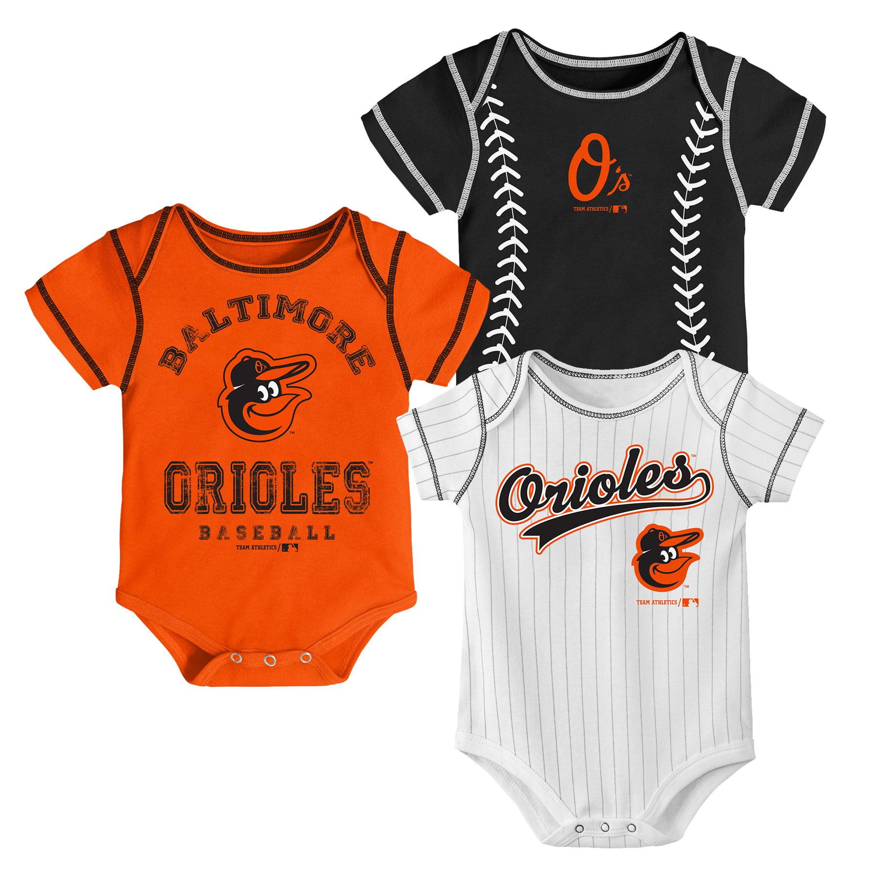 MLB Baltimore Orioles Onesie Creeper BOY 3PK 100% Cotton ASSORTED Colors 0M-18M