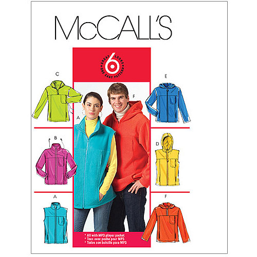 McCall's Pattern Misses and Men's Unlined Vest and Jackets, XM (S, M, L)